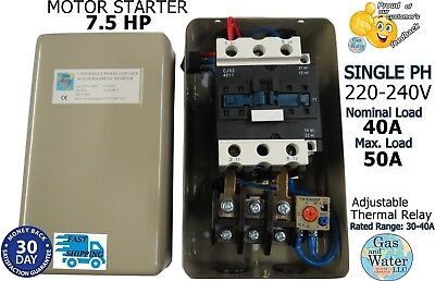 7.5 Hp Magnetic Starter Motor Control Single Phase 1ph 220240v 30-40a