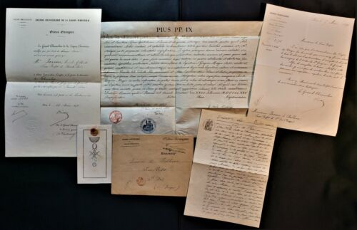 POPE PIUS IX SIGNED SAINT GREGORY THE GREAT DIPLOMA – SET OF 5 DOCUMENTS - 1875
