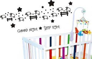GOODNIGHT SLEEP TIGHT COUNT SHEEP WALL ART STICKER CRIB BABY COT BEDROOM DIY