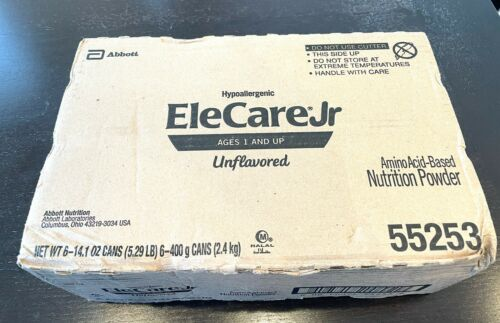 6 Cans EleCare Jr Unflavored Hypoallergenic Formula Exp 3/23 Free shipping!
