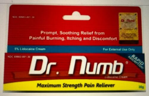 Dr Numb 5% Lidocaine Cream 30G Skin Numbing Tattoo, Waxing Piercing Exp 6/2022