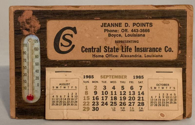 Vtg 1985  Desk Calendar & Thermometer Central State Life Ins Rep Jeanne D Points