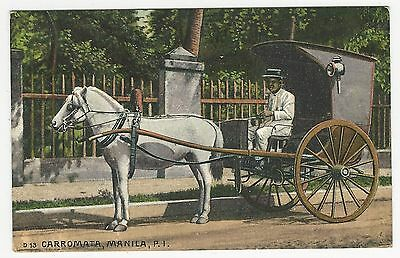 PC, Tinted, Horse & buggy, CARROMATA, Manila, Philippine Islands, ca1910s