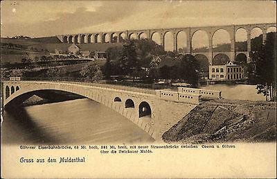 Zwickauer Mulde Sachsen Muldental ~1900 Eisenbahn Brücke zwischen Cossen Göhren