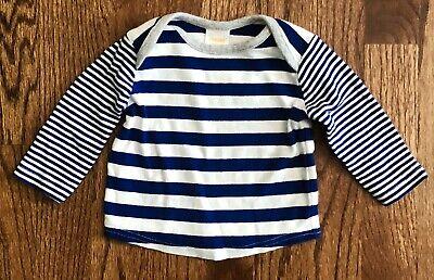 Gymboree Brand New Baby Blue Stripe Lap Shoulder Tee Boys Size 0-3m Cotton