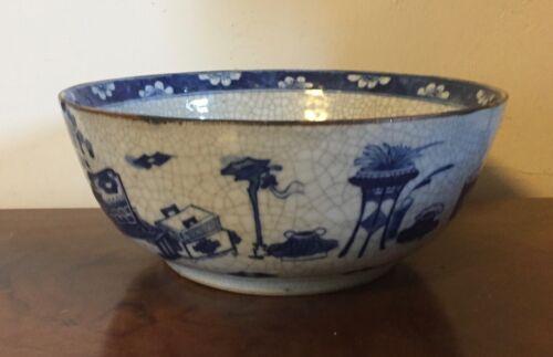 Antique 19th c. Chinese Export Porcelain Punch Fruit Bowl Blue & White Crackle