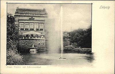 Leipzig Sachsen ~1900 Schwanenteich Neues Theater Teich Fontäne Gebäude Bauwerk