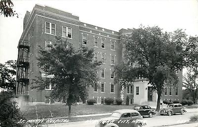 Nebraska City Nebraska~St Mary's Hospital~NICE 1930s Cars~1940s Real Photo~RPPC