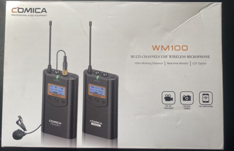 Comica WM100 UHF Wireless Microphone Transmitter and Receiver Kit