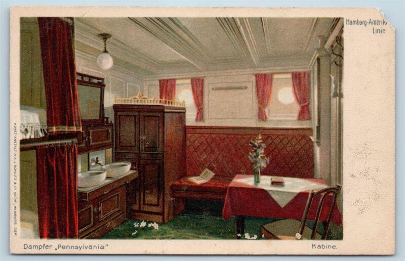Postcard Hamburg Amerika Line SS Pennsylvania Steamer Ship Interior Cabin V4