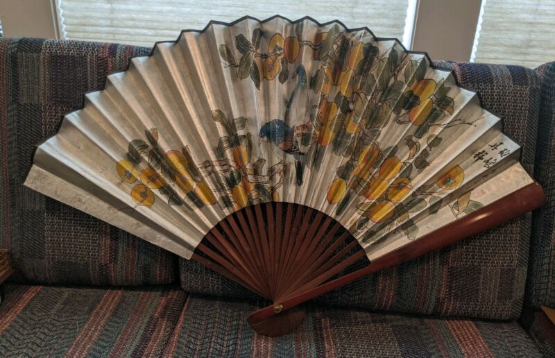 """Antique 34"""" Carved Wood Chinese Paper Folding Fan Birds and Oranges"""