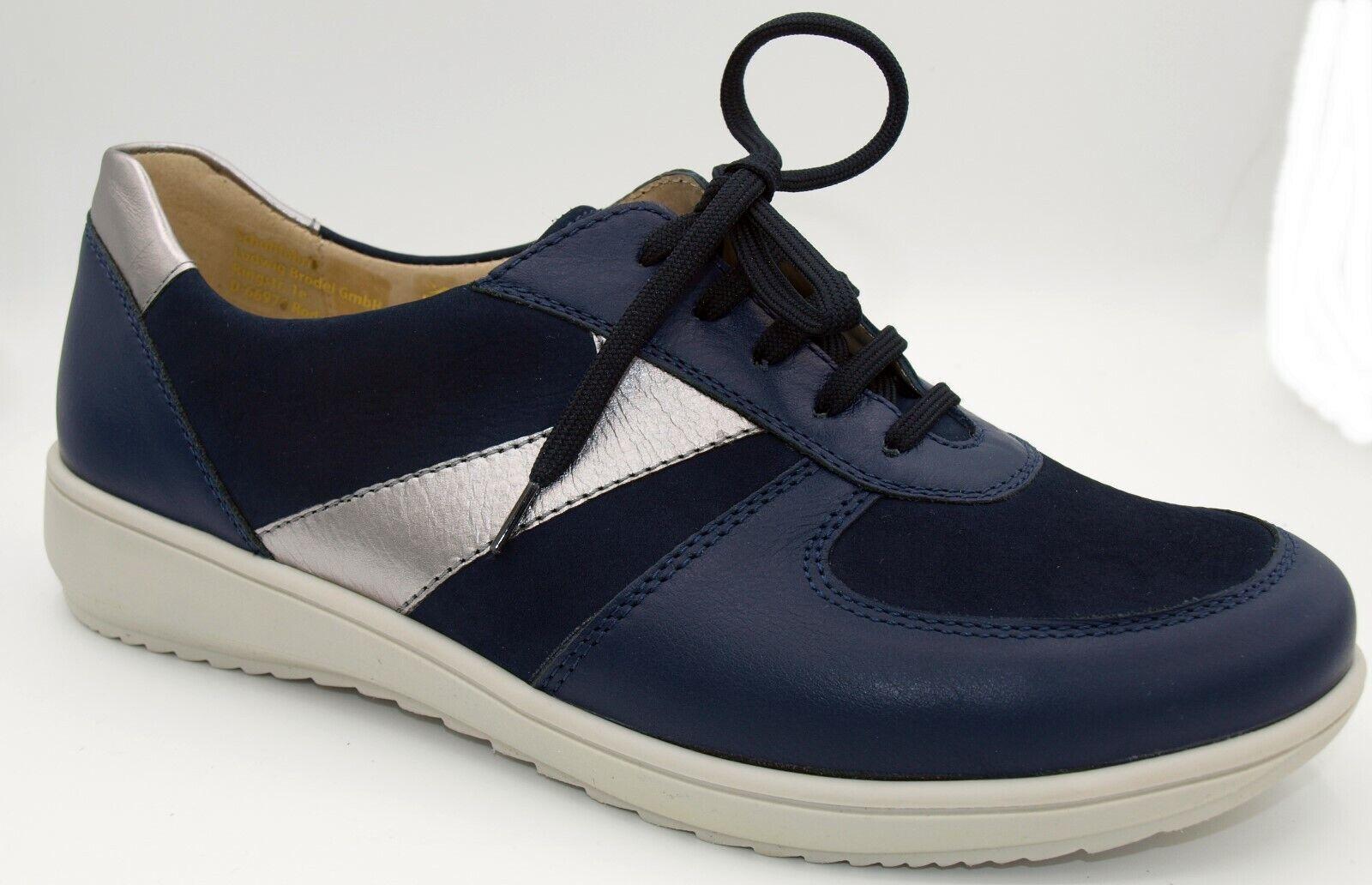 Schuhe Damen Goldkrone Schnürschuhe Echt Leder dunkelblau Weite H Neu 590/6