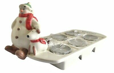 Hallmark Christmas Winter Snowman Dog Ice Cube Tray Candle Holder Let It Glow