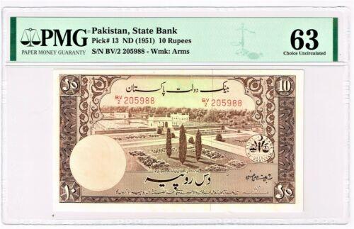 Pakistan: State Bank of Pakistan 10 Rupees ND (1951) Pick 13 PMG Choice Unc. 63.