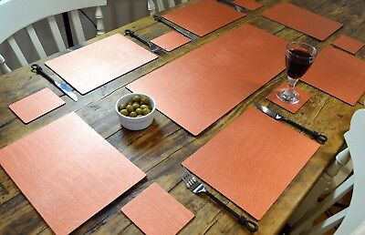 ARTISAN COPPER Bonded Leather 6 PLACEMATS, 6 COASTERS & TABLE RUNNER DINING SET