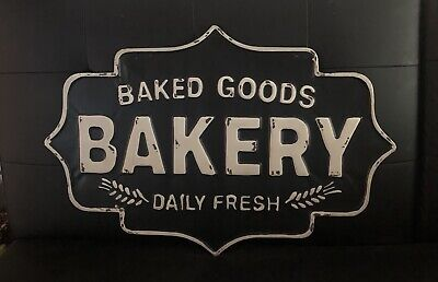 Bakery Sign Metal Vintage Retro Style Kitchen Wall Decor 23 X15 inches