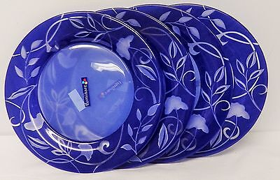 Free shipping – NEW – Set of 4 Dinner Plates – blue swirl – Luminarc – France
