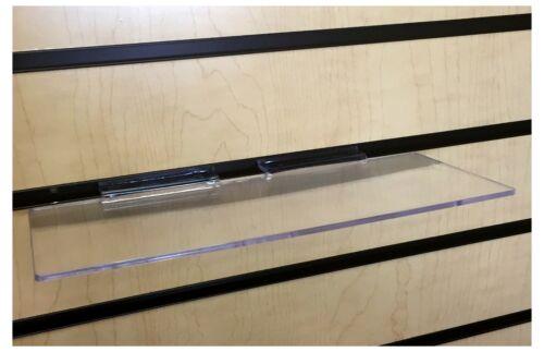 "30 Slatwall Shelves Shelf Shoe 4"" x 10"" Display Flat Styrene Clear Acrylic Slat"