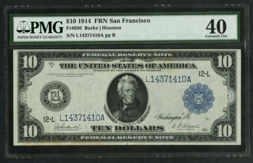 Fr950 1914 $10 Frn San Francisco Pmg 40 Xf (only 80 Recorded) Hw3781