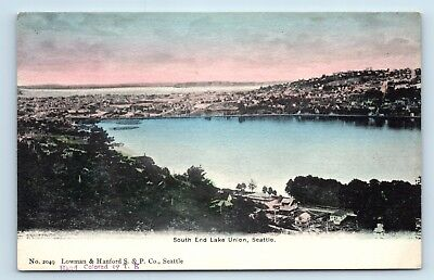 Seattle, WA - SCARCE PRE 1908 AERIAL VIEW OF SOUTH LAKE UNION - HANDCOLORED PC