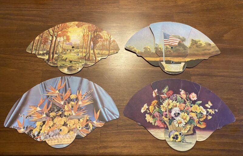 Lot of 4 Vintage Folding Church/Funeral Fans- Pledge of Allegiance, Flowers