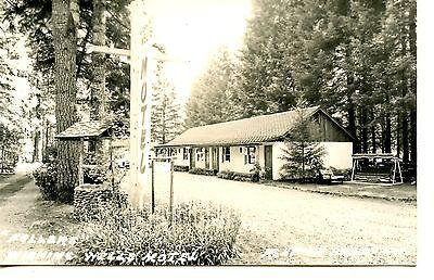 Wishing Well Motel Sign Mckenzie Bridge Oregon Rppc Vintage Real Photo Postcard