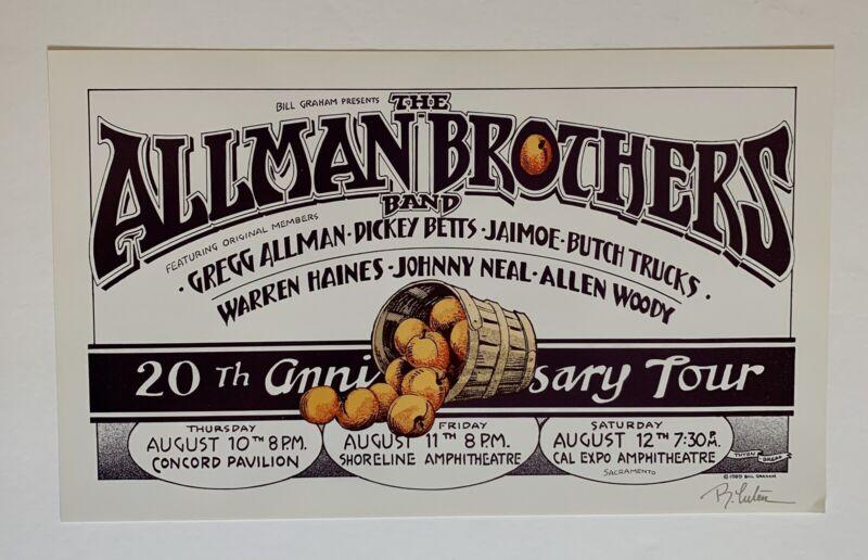 Allman Brothers 20th Anniversary Original Concert Poster by Randy Tuten