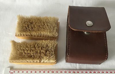 Vintage Leather Cased 2 Clothes Brush Set - Made in England