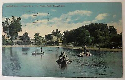 CONNECTICUT Hartford~Riverside Park~The Wading Pool~Kids on Rock~Posted 1914