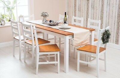 Solid Pine Wood Dining Set Table and Chairs Dining Room Furniture White/Honey