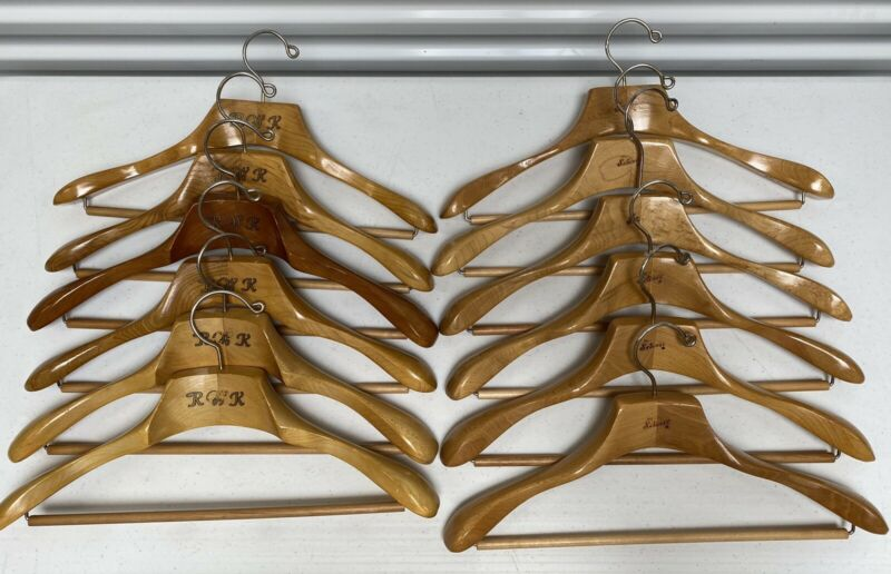 12 VINTAGE SETWELL 18 AND SIMILAR HANGERS WITH PANTS BAR - MINT CONDITION!