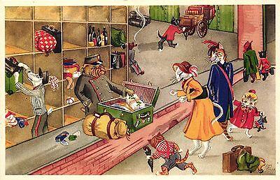 Katze, Katzen auf Reisen, Zöllner öffnet Koffer, um 1950