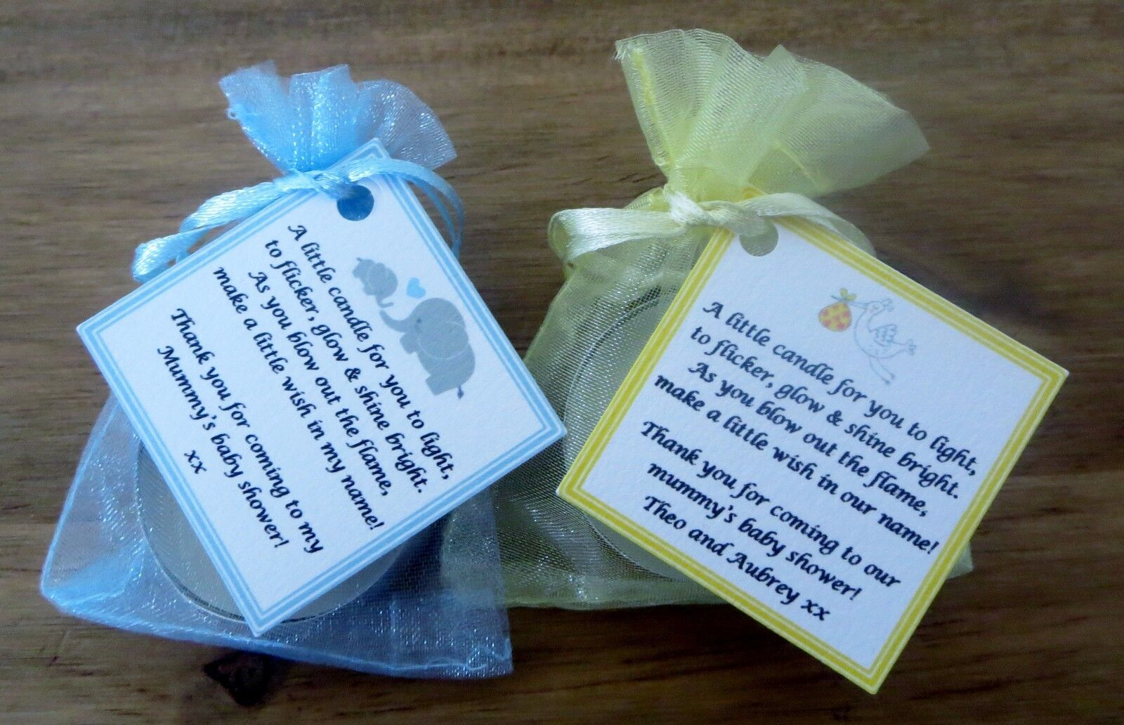 Baby Shower Gifts For Guests Uk ~ Baby shower candle tea light favours blue pink yellow