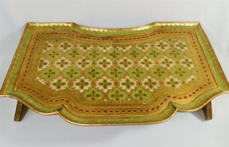 Vintage Italian FLORENTINE Wooden Tole Tray Gilt Ornate Gold Green Red Bed Tray