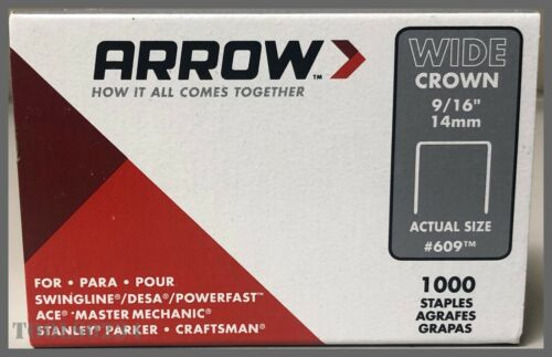 "Arrow Fastener 609™ Wide Crown Staples - 9/16"" (14mm) - Steel - 1000/Pack"