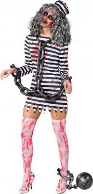 Damen Dead Guilty Zombie Sträfling Gefangener Halloween Kostüm Kleid Outfit