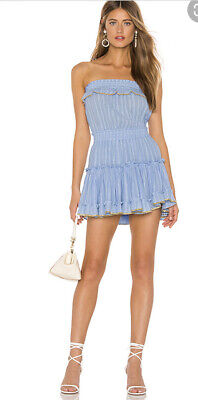 MISA Eda Blue Strapless Mini Dress Size M $290 Retail!