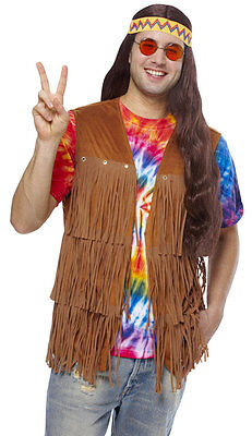 1960S 60'S 70S ADULT MENS MALE PEACE RETRO HIPPIE FRINGE COSTUME VEST BROWN  - 70s Men Costumes