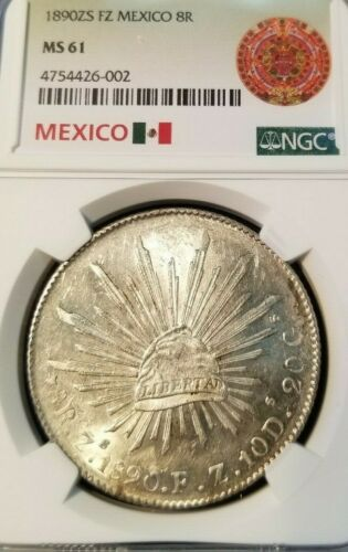 1890 Zs FZ MEXICO 8 REALES 8R NGC MS 61 NICE BRIGHT LUSTER ZACATECAS MINT