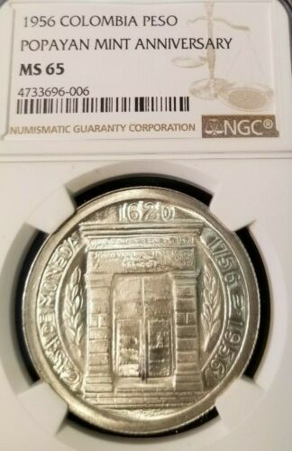 1956 COLOMBIA SILVER PESO POPAYAN MINT ANNIVIVERSARY NGC MS 65 HIGH GRADE BEAUTY