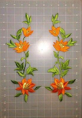 2 ORANGE LILLY FLOWER PATCH IRON.