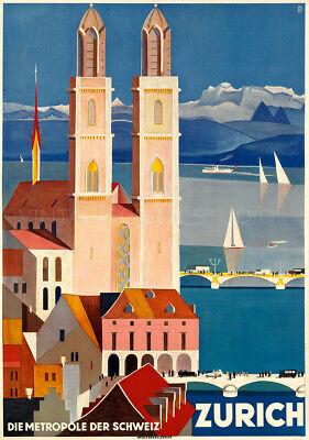 Zurich 1929 Vintage Swiss Travel Advertising Poster Giclee Canvas Print 30x43 cm