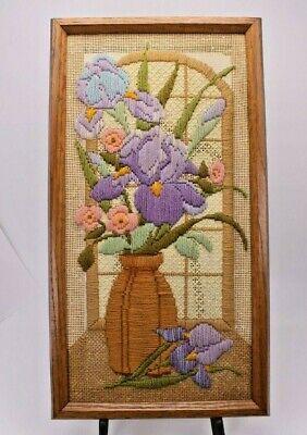Mid Century Framed Embroidered Bargello Multi Color Vase Flowers Iris Window Vtg