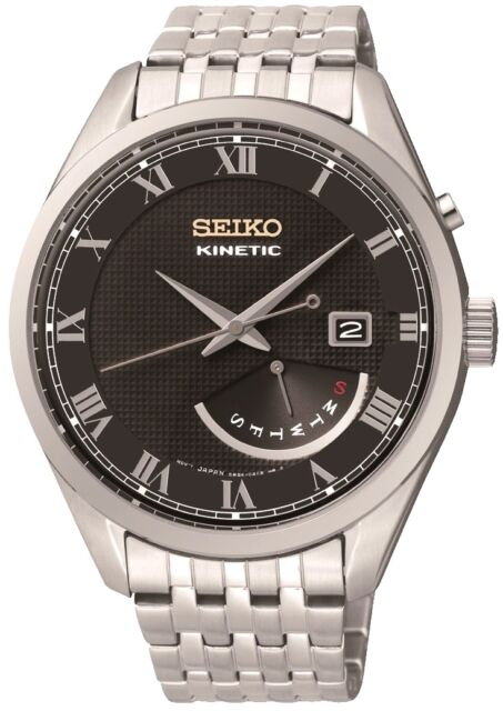 SEIKO SRN057P1 Kinetic Stainless Steel WR100m Men's Day Date 2Yr Guar RRP £229.