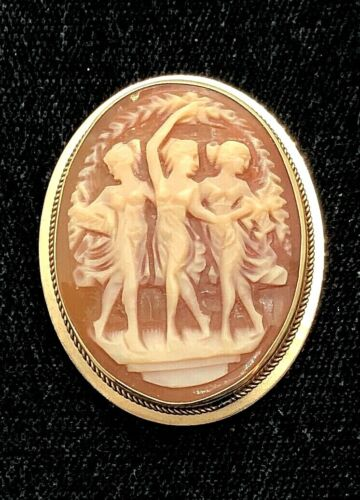 SIGNED 14K SOLID YELLOW GOLD & CARVED CAMEO PIN / PENDANT  3 MUSES