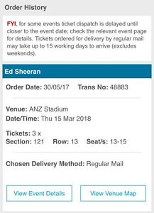 Ed Sheeran Ticket 15/03/2018 Queanbeyan Queanbeyan Area Preview