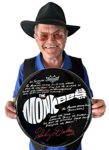 """MICKY DOLENZ DIRECT! 14"""" DRUM HEAD W/ MONKEES THEME SONG FACTS & LYRICS!"""