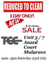 HUGE stock clearance sale EVERYTHING MUST GO.... New and Ex demo Mulgrave Monash Area Preview