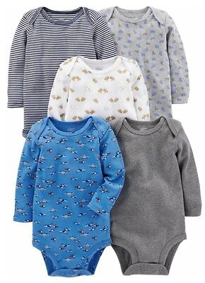 Simple Joys by Carters Baby 5 Pack Short-Sleeve Bodysuits Boys Size 6-9 M