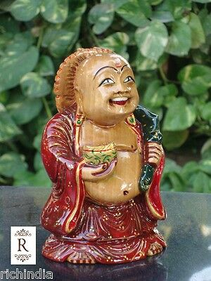 Happy Man laughing Buddha statue art Craft Good luck handmade gift decor Fish